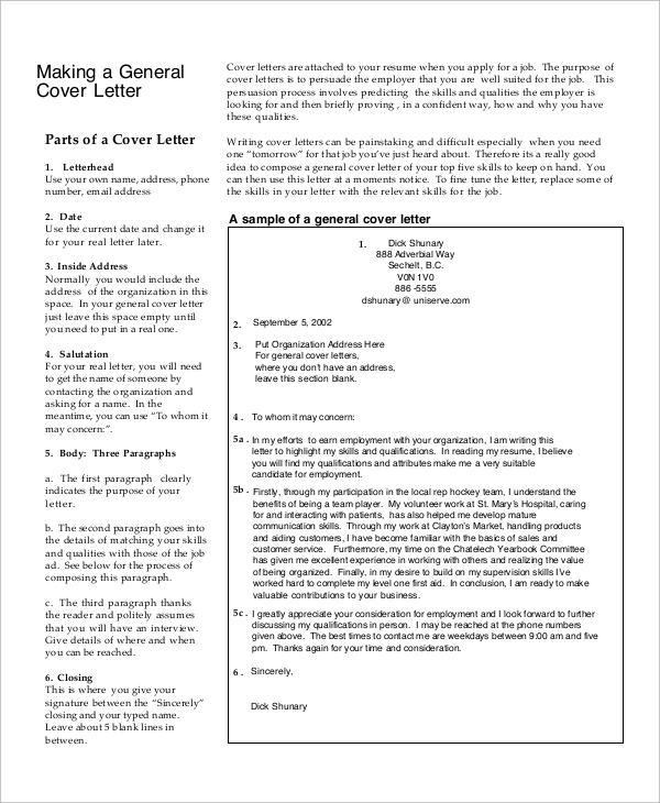 7+ Sample Generic Cover Letter | Sample Templates