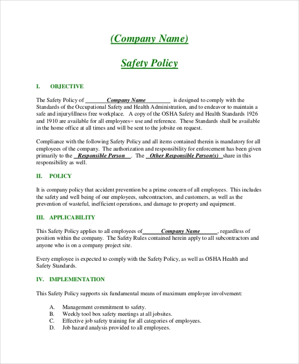 Sample Company Policy   Documents In Pdf Word