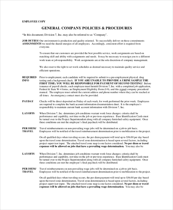 Company Policies And Procedures Template Sample Company Policy 7 Documents In PDF Word