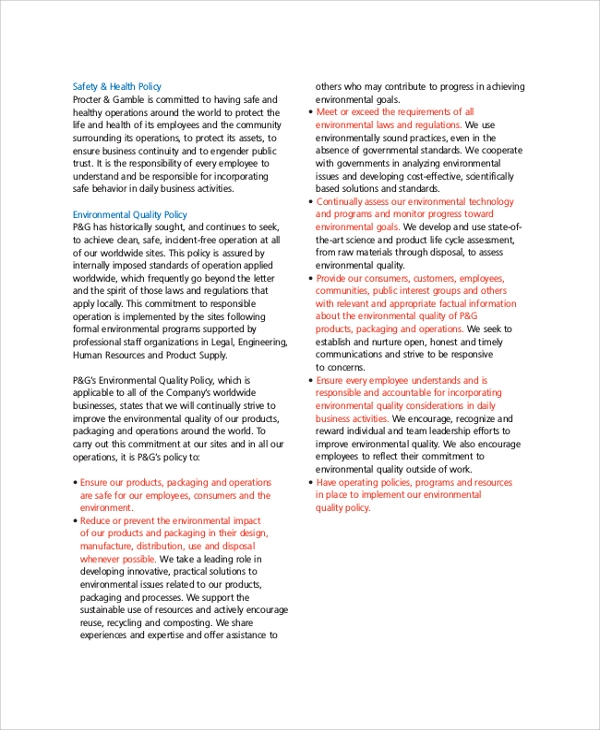 company values policies