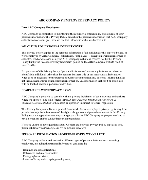12 company policy samples sample templates for Corporate privacy policy template