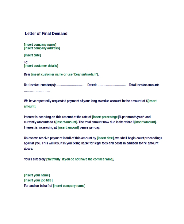 Letter Of Demand Sample   Examples In Word Pdf