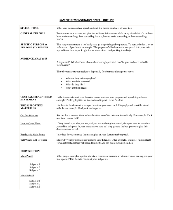 Sample Speech Outline   Documents In Pdf Word