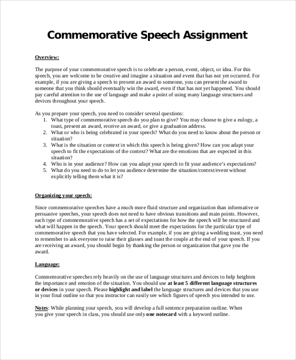 commemorative speech outline assignment