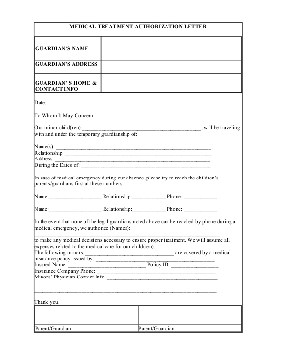 Sample Medical Authorization Letter 6 Documents in PDF – Sample Medical Authorization Letter