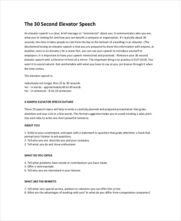 sample elevator speech speech outline