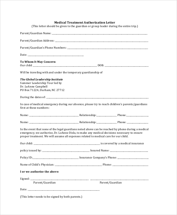 Sample Medical Authorization Letter   Documents In Pdf