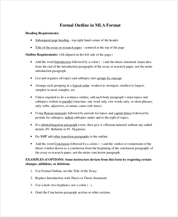 Formal MLA Outline Format