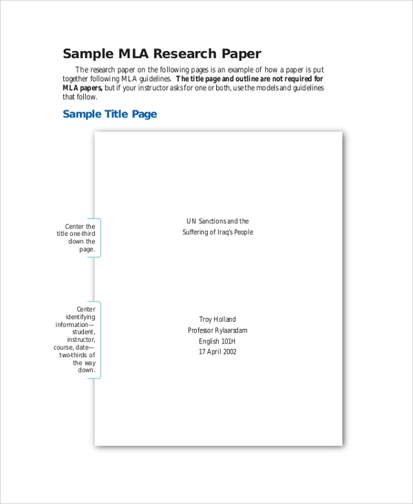 Cover page of research paper mla format