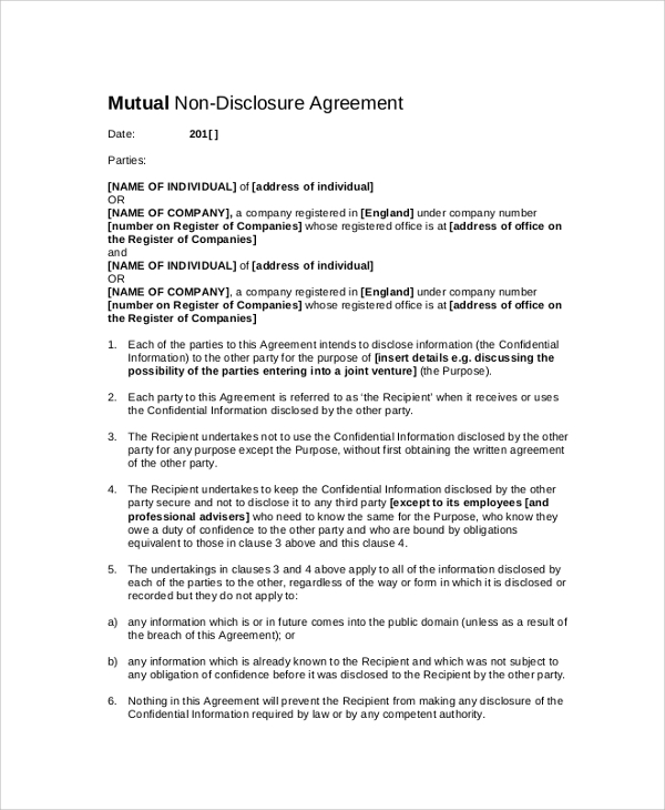 Sample Confidential Disclosure Agreement   Documents In Pdf Word