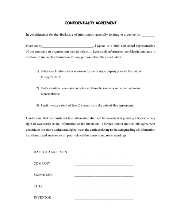 sample confidential disclosure agreement