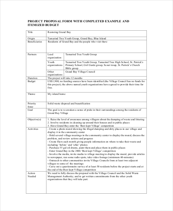 sample project proposal form - Sample Project Proposal