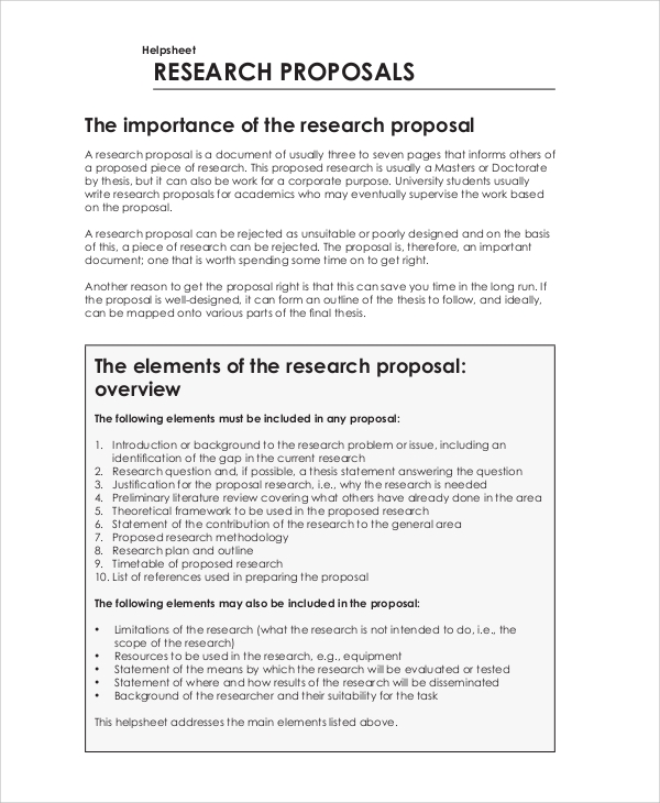 project research proposal sample