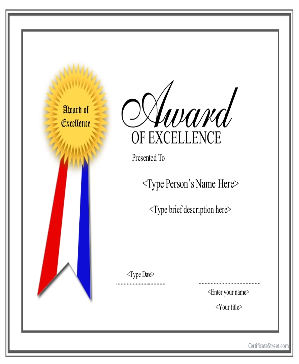 6 sample award certificates sample templates for Certificate of excellence template