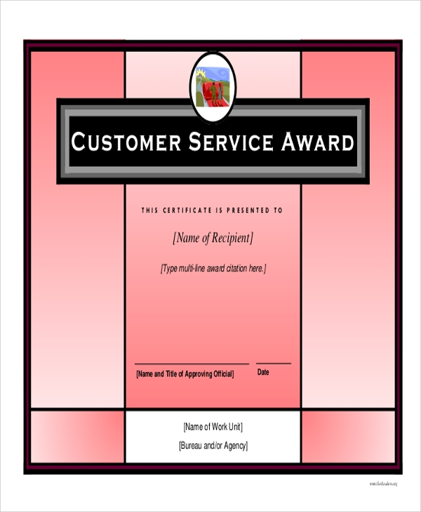 customer service award certificate sample