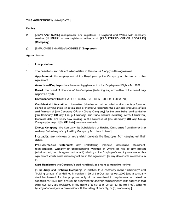 Sample Employment Contract 6 Documents in PDF Word – Executive Employment Contract