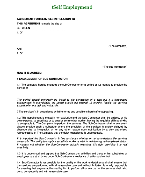Sample Self Employment Agreement   Documents In Pdf