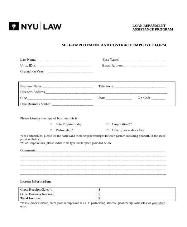 self employment agreement form