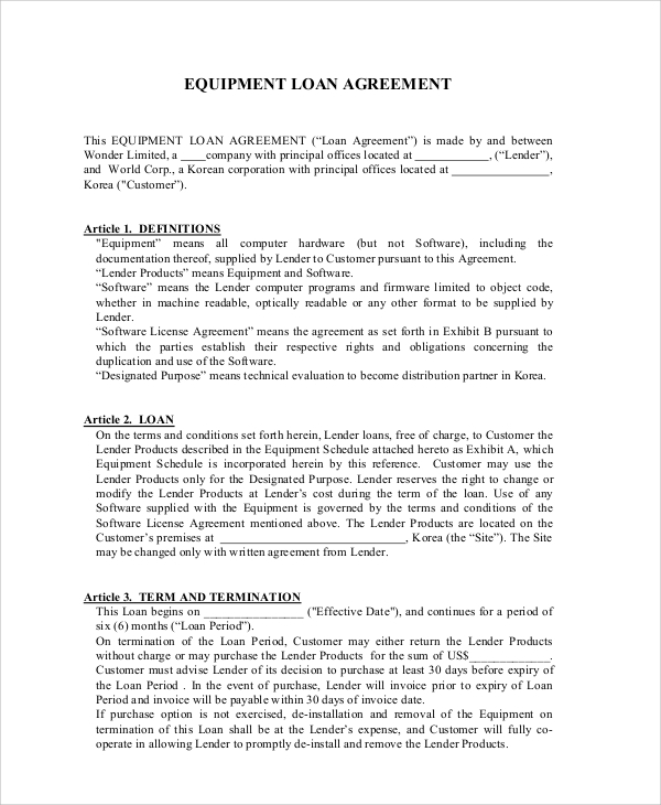 Sample Business Loan Agreement 6 Documents in PDF – Sample Business Loan Agreement