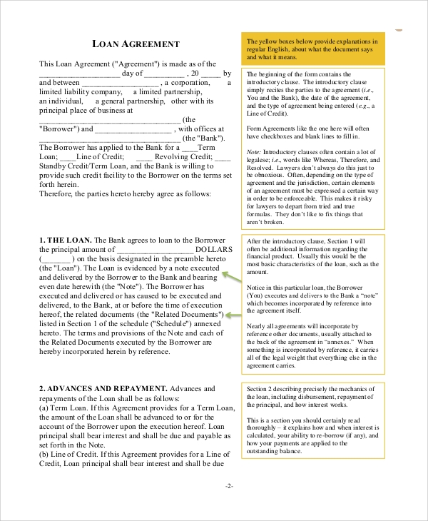 Sample Business Loan Agreement   Documents In Pdf