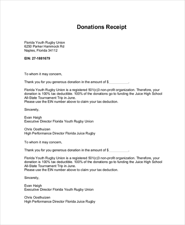 Sample Donation Receipt Letter 7 Documents in PDF Word – Sample Donation Receipt
