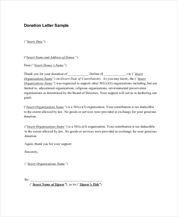Sample Donation Receipt Letter 7 Documents in PDF Word – Acknowledgement Receipt Sample