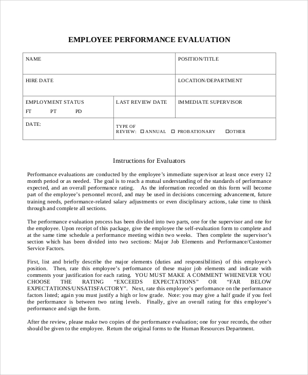 Sample Work Performance Evaluation 6 Documents in PDF – Self Performance Evaluation