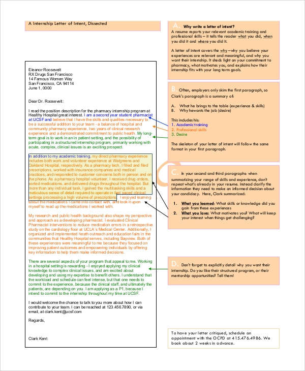 Sample Internship Letter of Intent - 5+ Documents in PDF