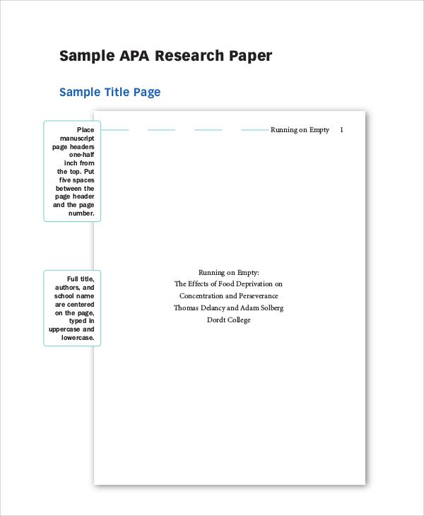 apa research paper sample