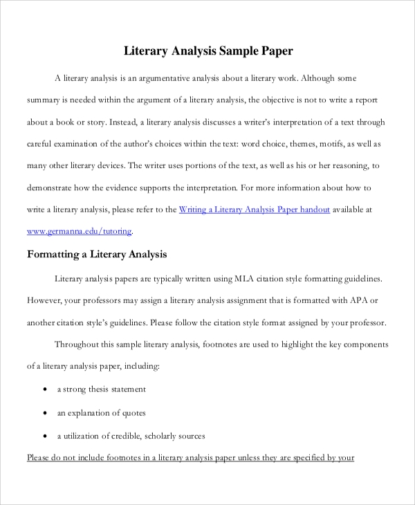 literary analysis sample research paper