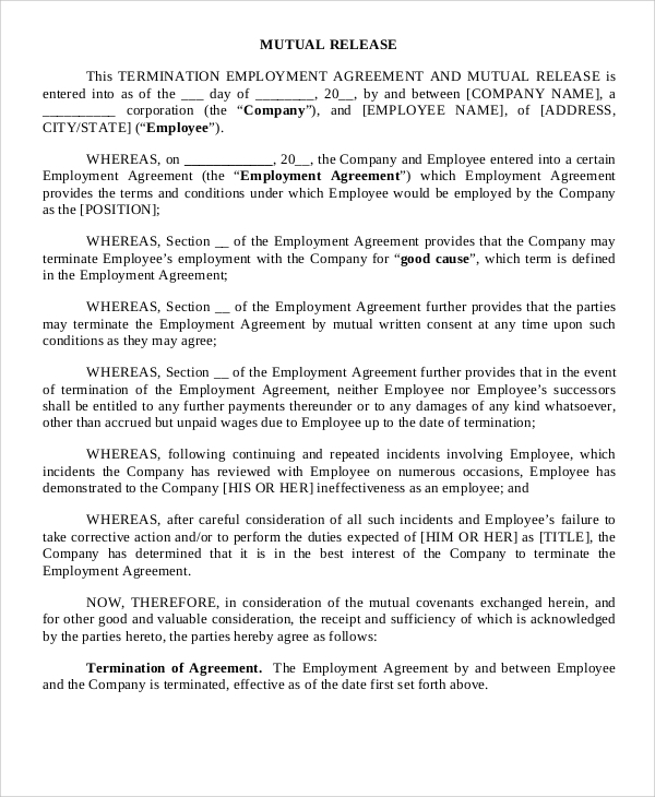 Sample Employment Release Agreement - 5+ Documents In Pdf