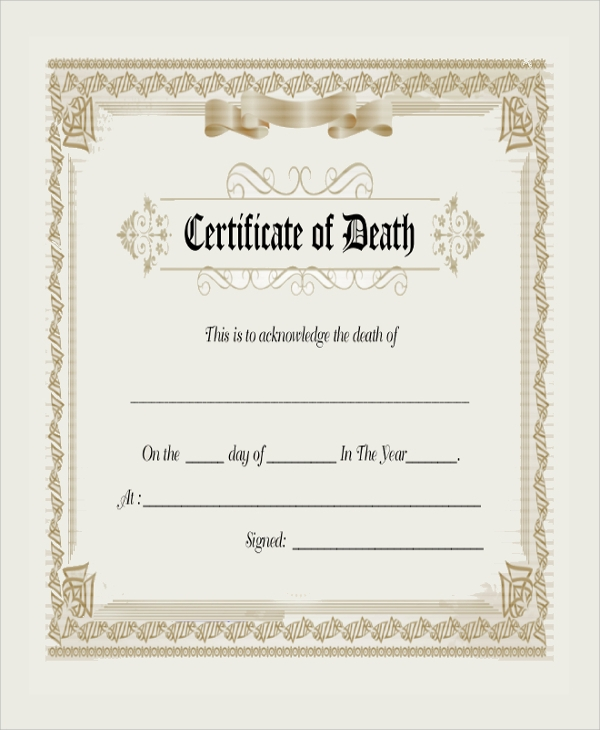 Useful Sample Death Certificate Templates to Download