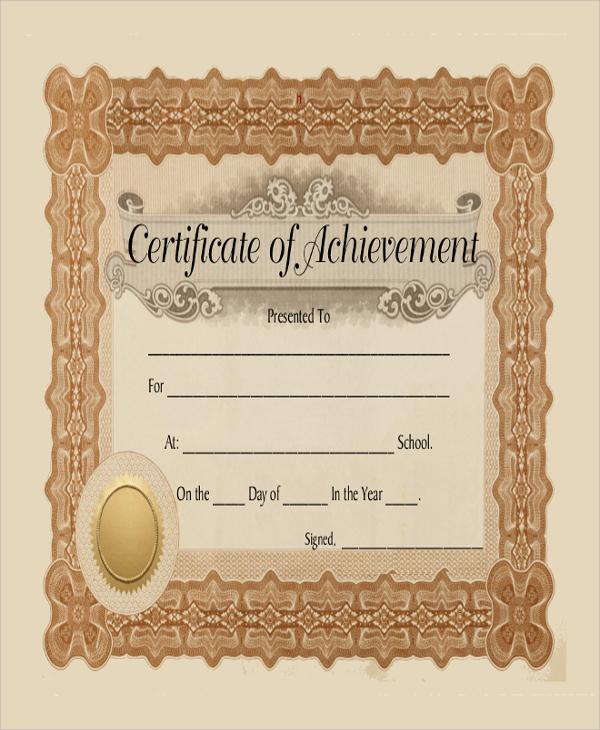 blank achievement certificate