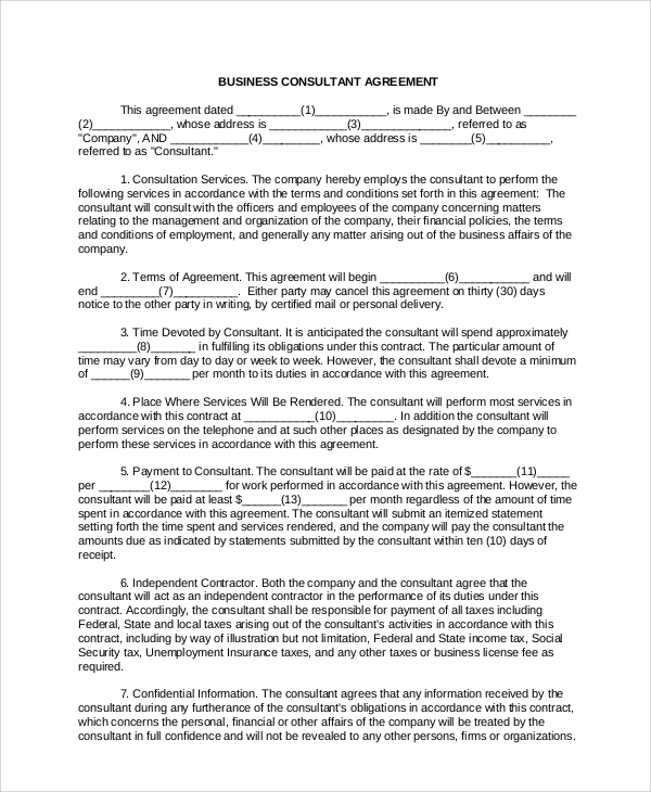 Sample Business Consulting Agreement   Documents In Pdf