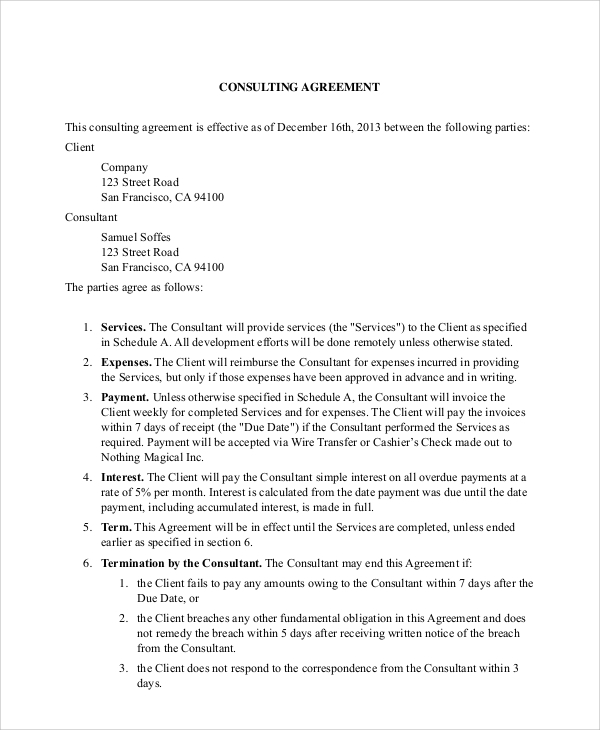 financial business consulting agreement