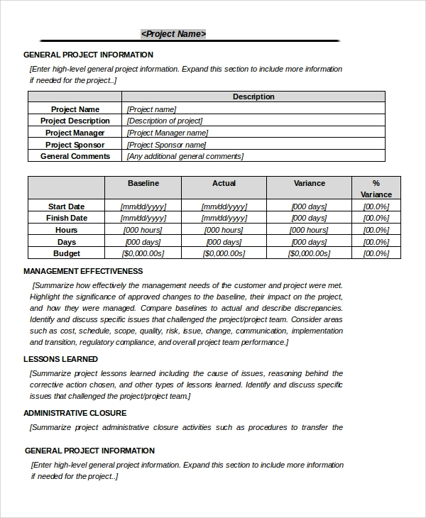 Sample Project Closeout 7 Documents in PDF WORD – Construction Project Report Format