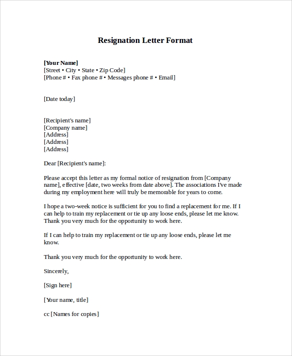 Sample letter format 20 documents in pdf word sample resignation letter format expocarfo