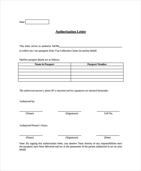 authorization letter format
