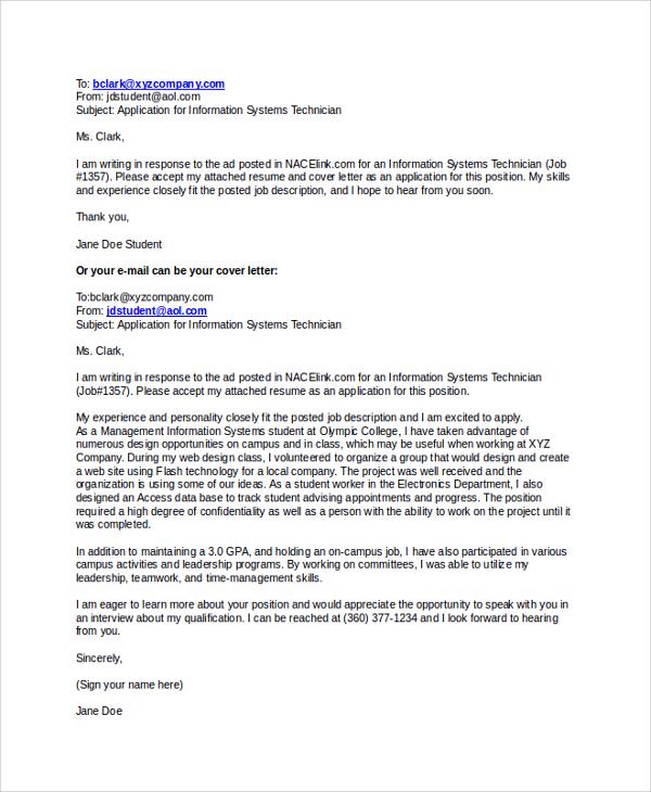 Sample Email Letter Format