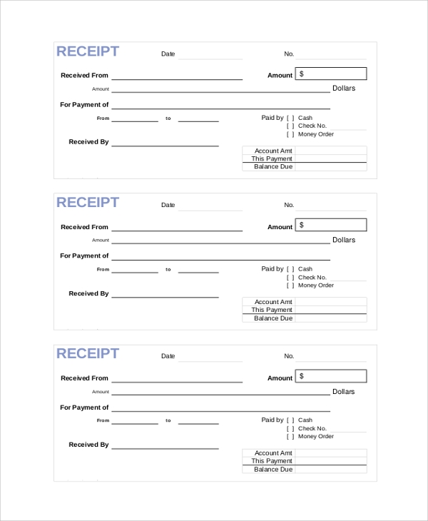 Cash Payment Receipt Sample  Cash Receipt Forms