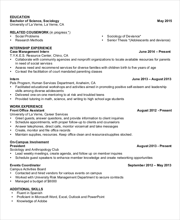 basic student resume sample