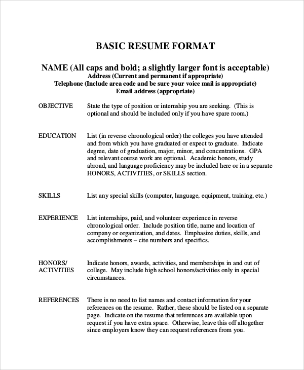 8 basic resume samples examples templates sample templates. Black Bedroom Furniture Sets. Home Design Ideas
