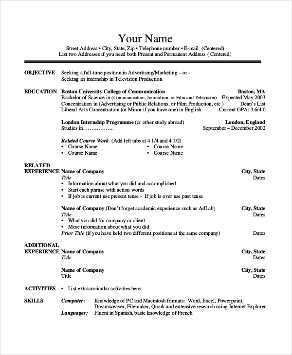 basic undergraduate resume sample - Undergraduate Resume Sample
