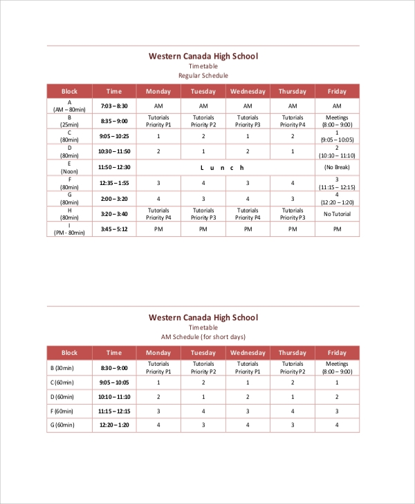 daily school timetable