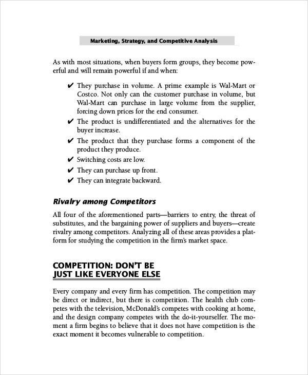Sample Competitive Market Analysis   Documents In Pdf Word