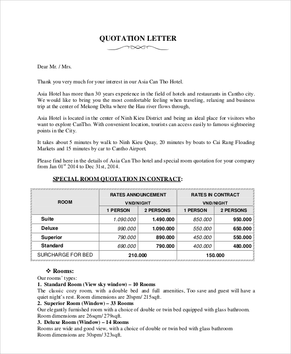 Company Quotation Format The Template Comes With All Information
