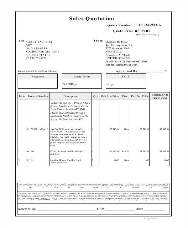 Sales Quotation Sample   Documents In Pdf