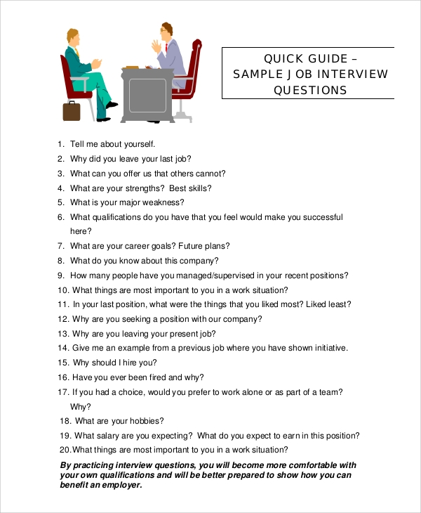 Sample Job Interview Questions  Interview Questions