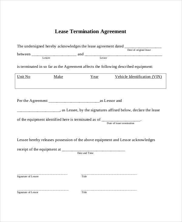 Sample Commercial Lease 6 Documents in PDF – Commercial Lease Termination Agreement