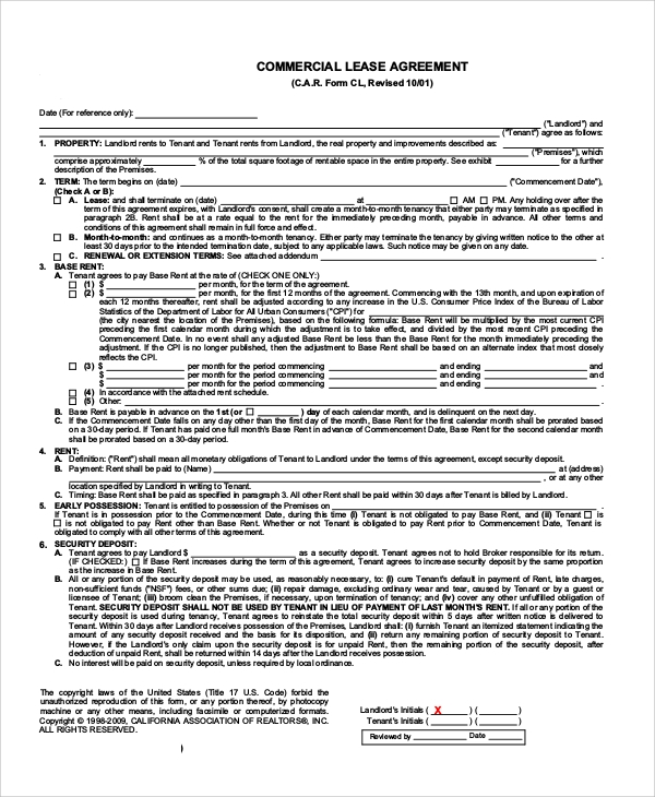 sample commercial lease agreement form
